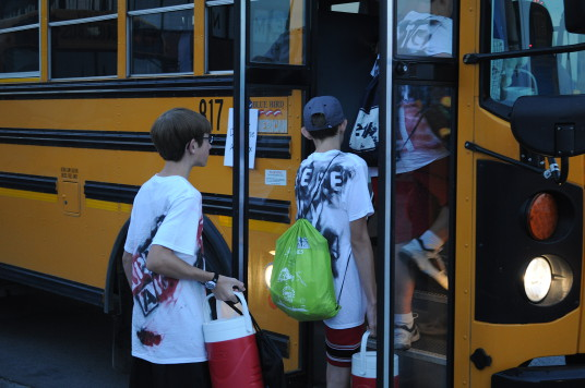 Loading one of the buses
