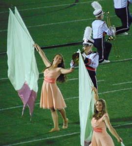 flags, mellophone, trombone